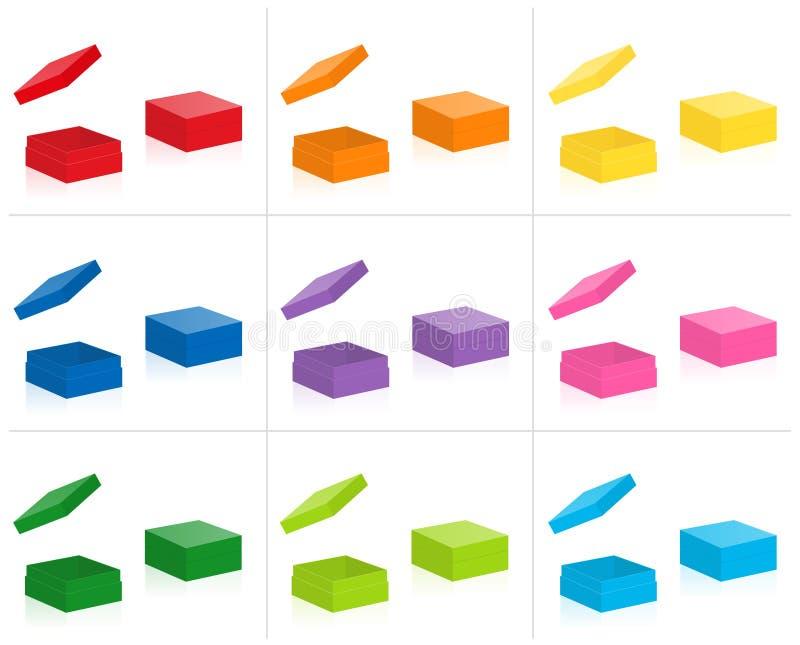 被关上的平的礼物盒开放盒盖报道色的收藏 向量例证