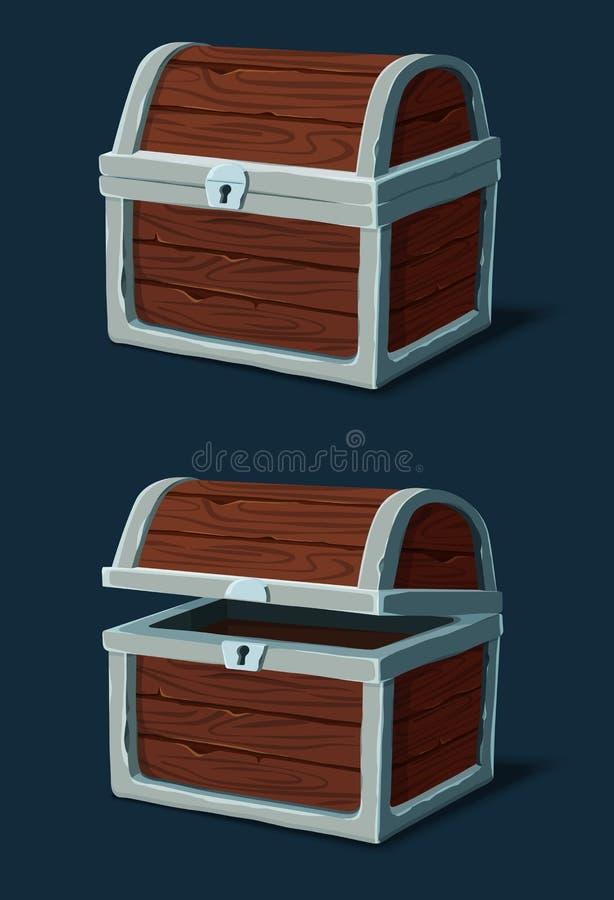 被关闭的木板箱、胸口或者海盗嫁妆 向量例证