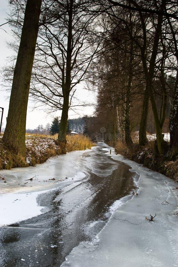 被冰的河 免版税库存图片