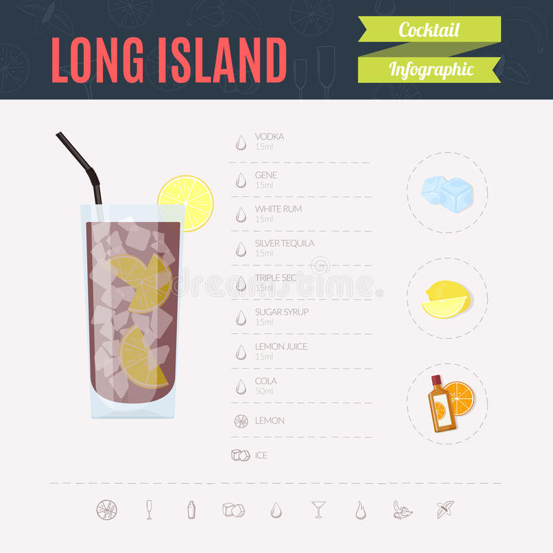 被冰的海岛长的茶 鸡尾酒infographic集合 也corel凹道例证向量 库存例证