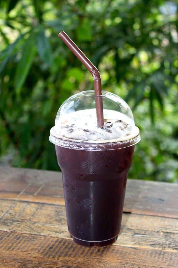 被冰的americano无奶咖啡 免版税图库摄影
