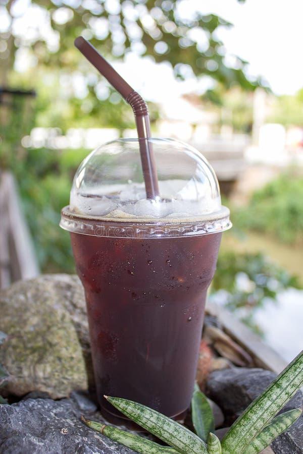 被冰的americano无奶咖啡 库存照片