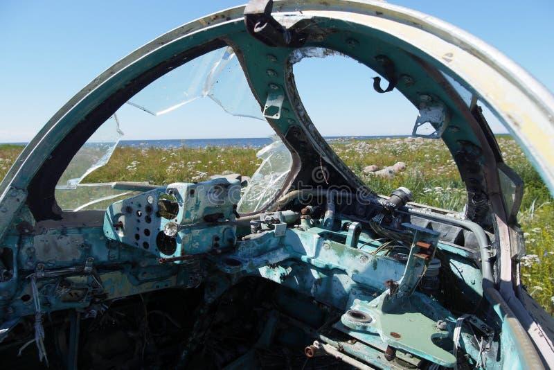被击毁的军用飞机驾驶舱  水泡断 库存图片