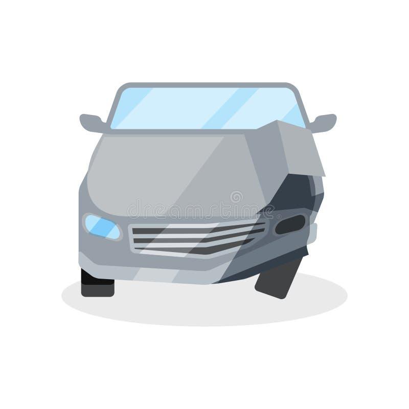 被击毁的汽车平的传染媒介象  有残破的敞篷、防撞器和车灯的汽车 电视节目预告海报的元素  皇族释放例证