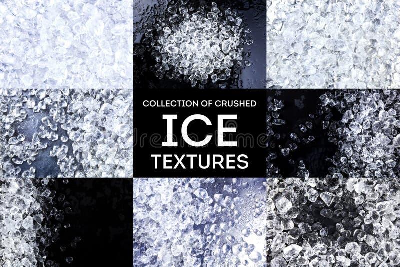 被击碎的冰纹理 在黑背景的冰块 复制空间,顶视图 汇集 免版税库存图片