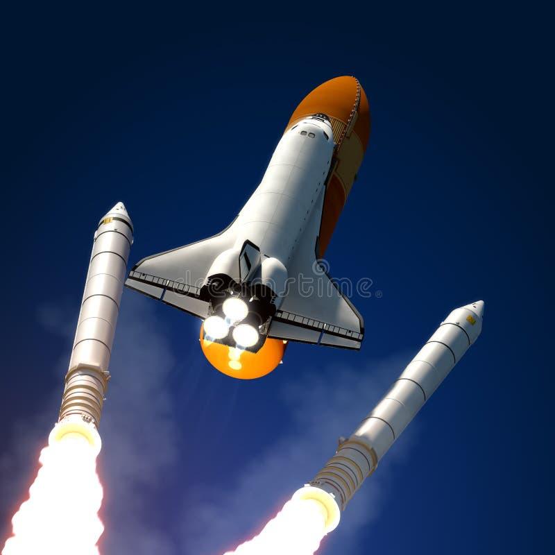 被分开的航天飞机坚实火箭队钉头切断机。 皇族释放例证