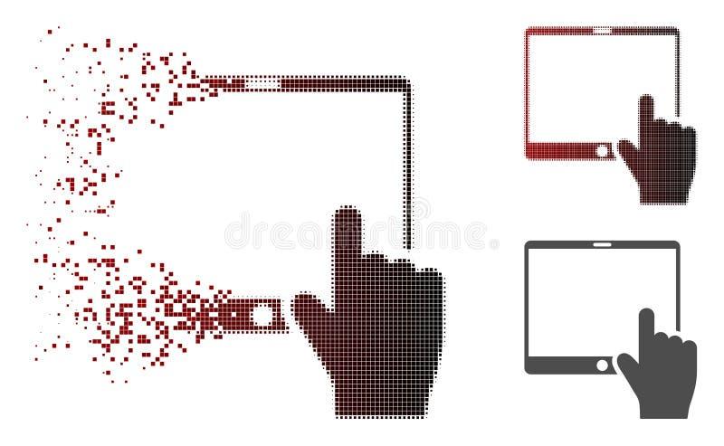 被分散的小点半音手指向流动片剂象 库存例证