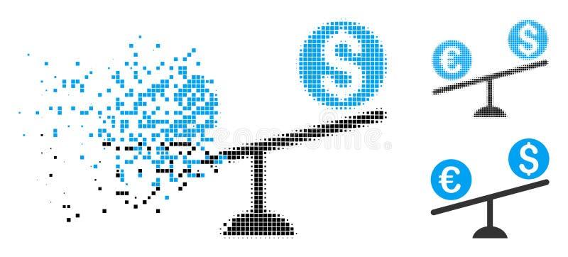 被分散的被加点的半音货币贸易摇摆象 库存例证