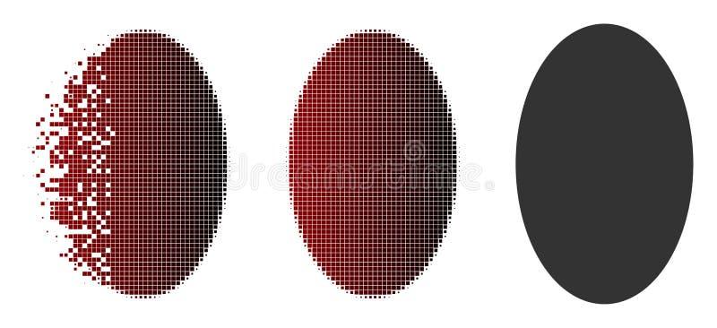 被分散的Pixelated中间影调被填装的椭圆象 库存例证