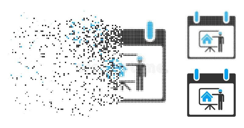 被分散的Pixelated半音不动产开发商日历象 皇族释放例证