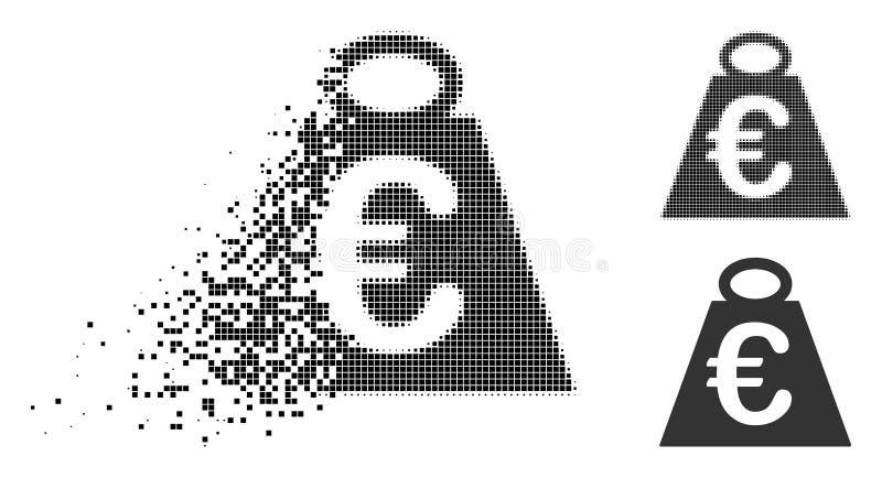 被分散的Pixelated半音欧洲体重标准象 库存例证