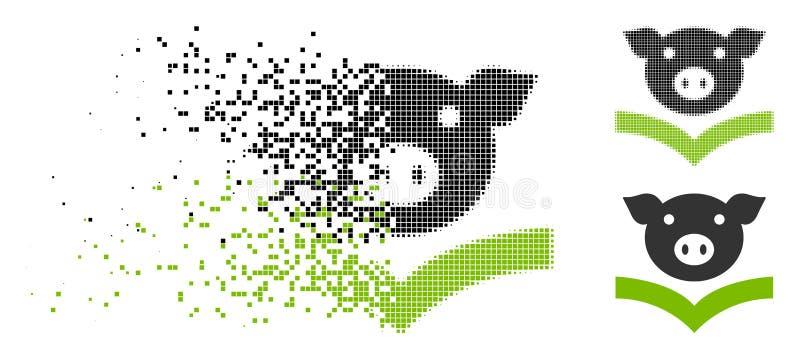 被分散的Pixelated半音猪知识象 皇族释放例证