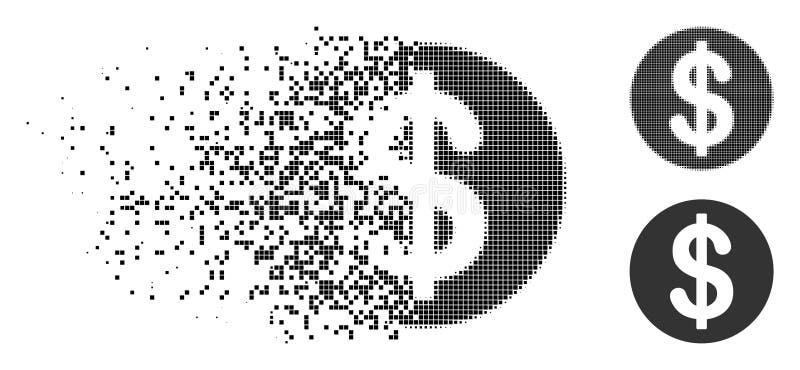 被分散的Pixelated半音美元硬币象 向量例证