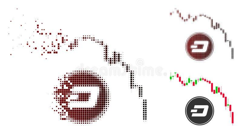 被分散的Pixelated半音Dashcoin恐慌秋天图象 皇族释放例证