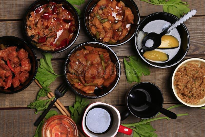 被分类的中国食物集合 免版税库存照片