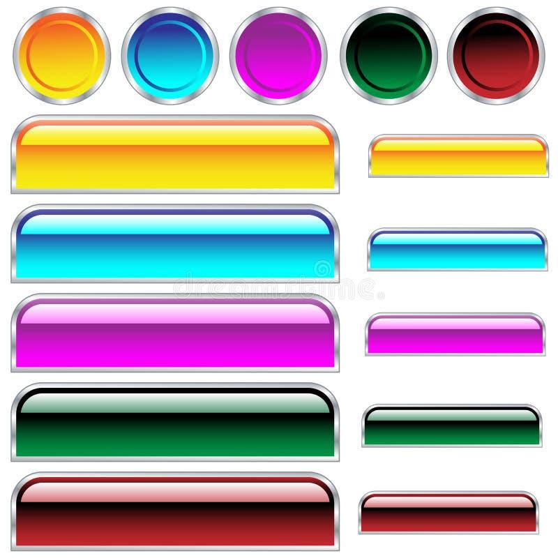 被分类的按钮颜色光滑的形状万维网 库存例证