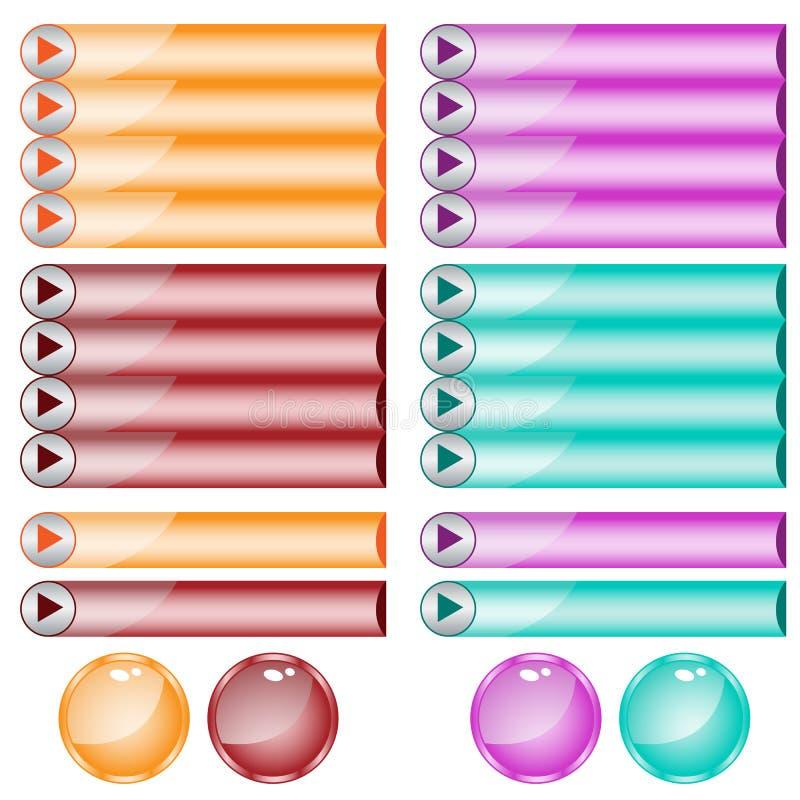 被分类的按钮颜色形状万维网 库存例证