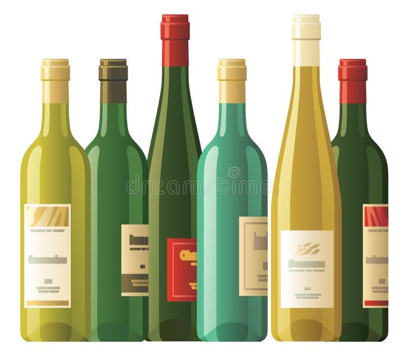 被分类的瓶酒 向量例证
