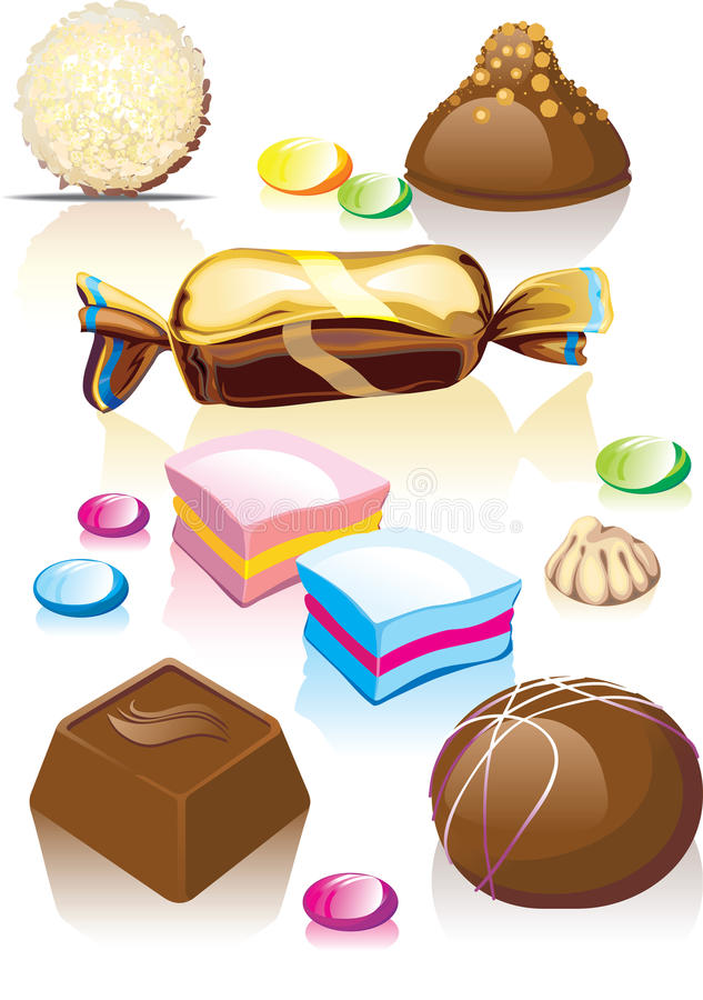被分类的糖果巧克力 库存例证
