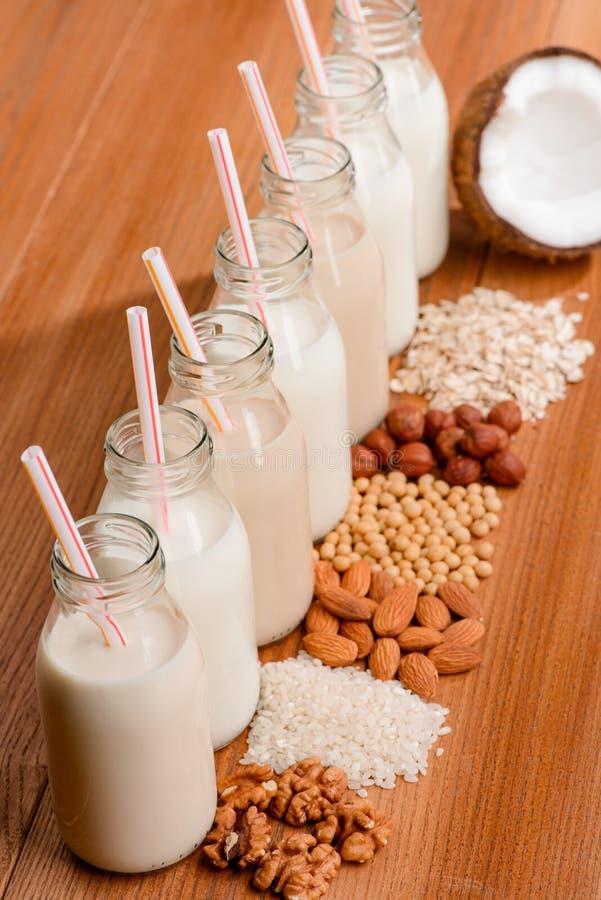 被分类的素食主义者牛奶和成份 库存照片