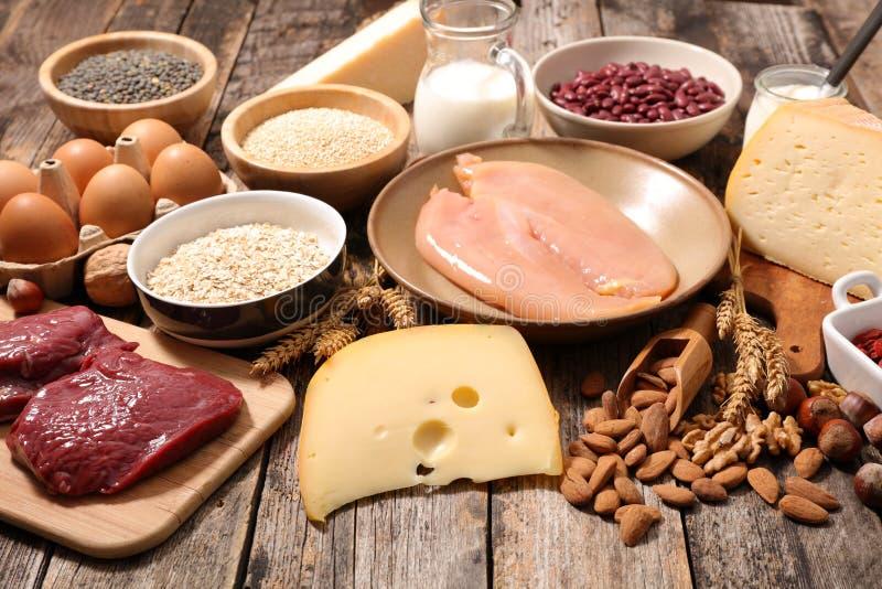 被分类的蛋白质食物 免版税库存照片