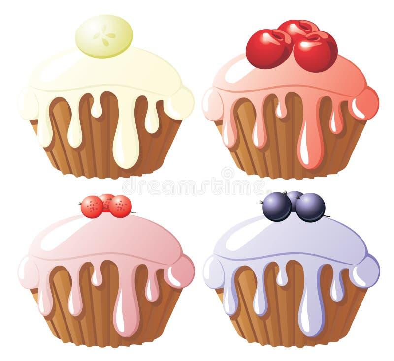 被分类的蛋糕果子 向量例证