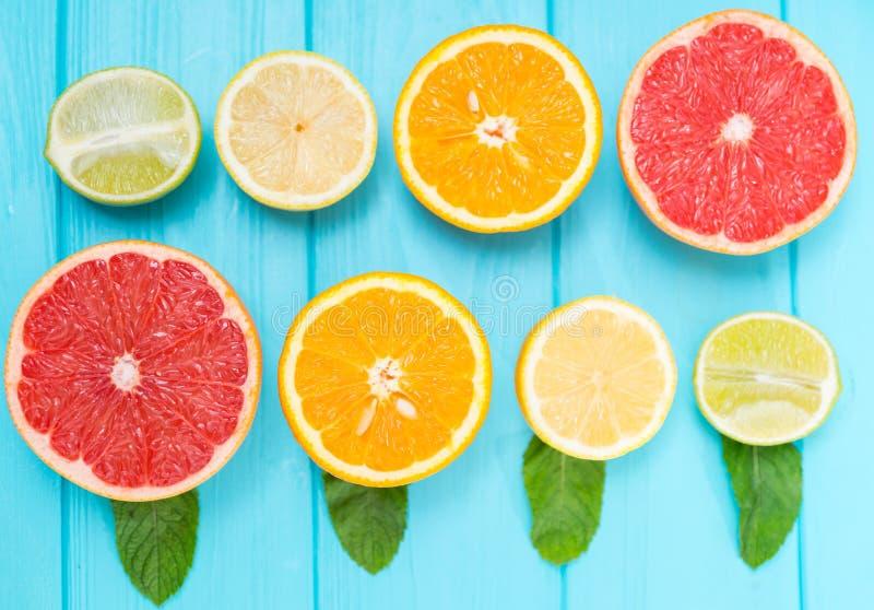 被分类的被对分的新鲜的柑桔静物画  免版税库存图片