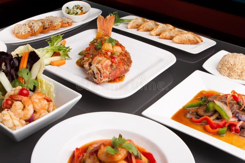 被分类的辣泰国食物 免版税库存照片