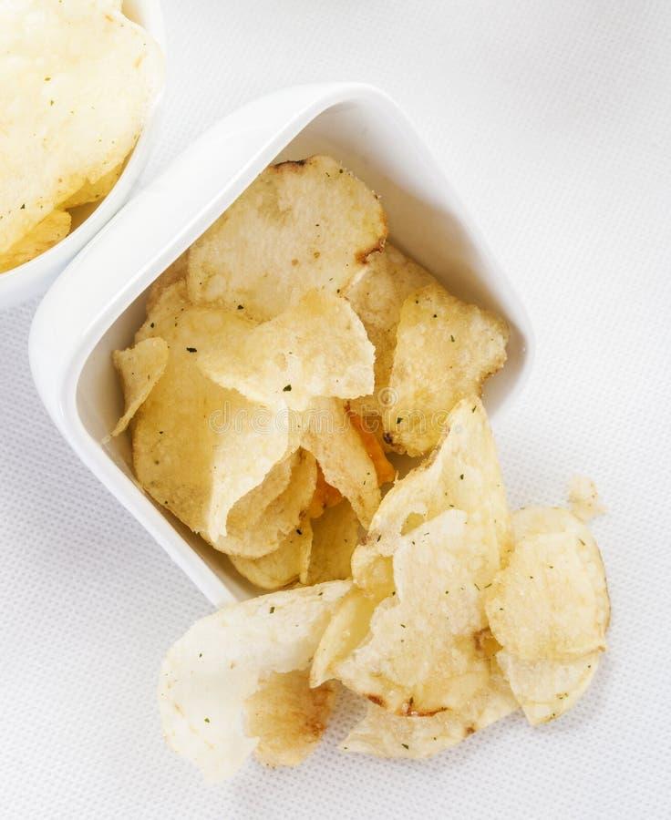 被分裂的土豆片 免版税图库摄影