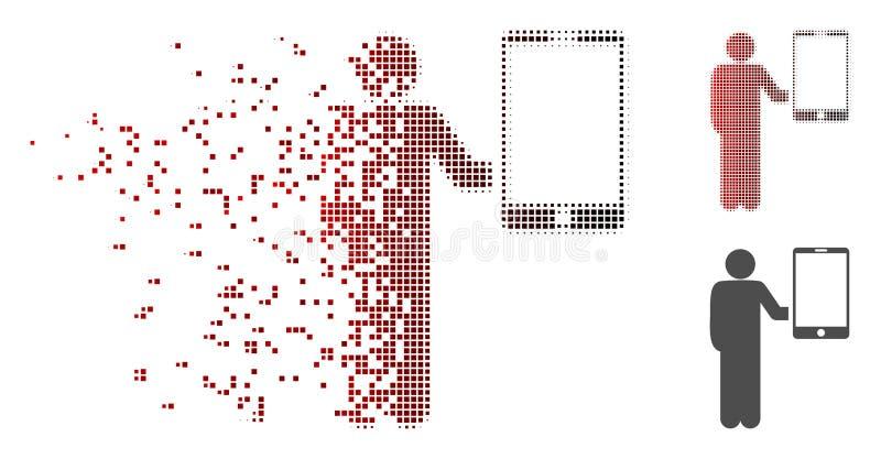 被分解的映象点半音人拿着智能手机象 向量例证