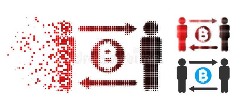 被分解的被加点的半音人交换Bitcoin象 皇族释放例证