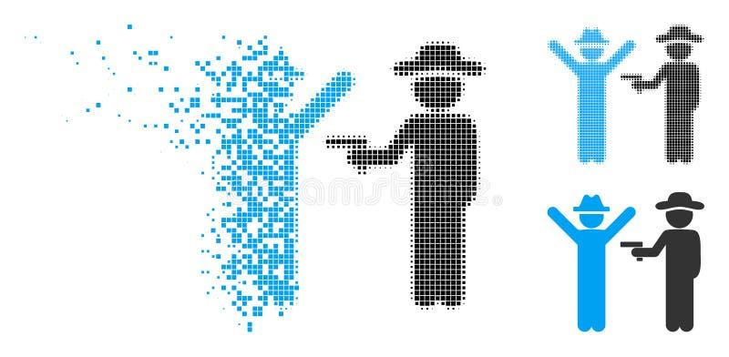 被分解的Pixelated半音绅士罪行象 库存例证