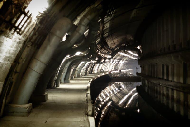 被分类的军事对象K-825 -地下水下基地 免版税库存照片