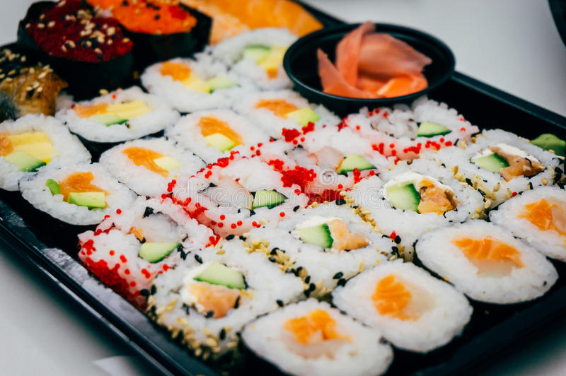 被分类的卷寿司 免版税库存图片