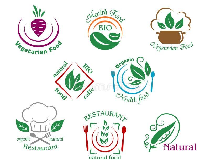 被分类的餐馆和素食主义者食物标志或 库存例证