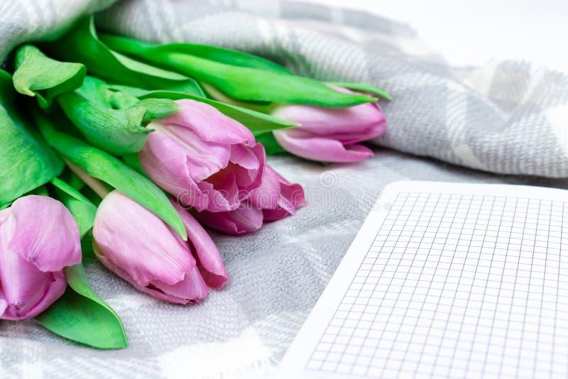被切开的桃红色淡紫色郁金香花束与一个笔记本的在灰色方格的被编织的背景关闭 库存图片