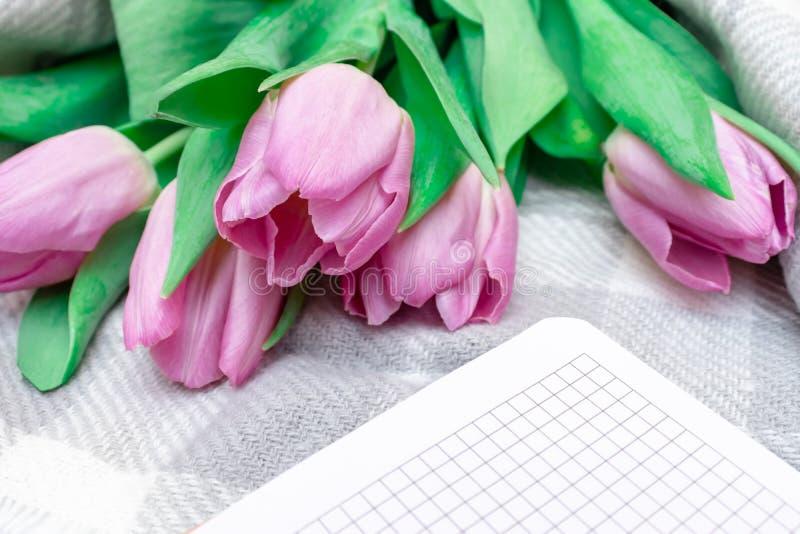 被切开的桃红色淡紫色郁金香花束与一个笔记本的在灰色方格的被编织的背景关闭 免版税库存照片