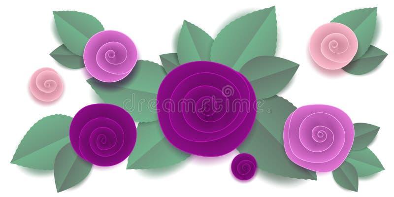 被切开的纸上升了在小插图的花 皇族释放例证