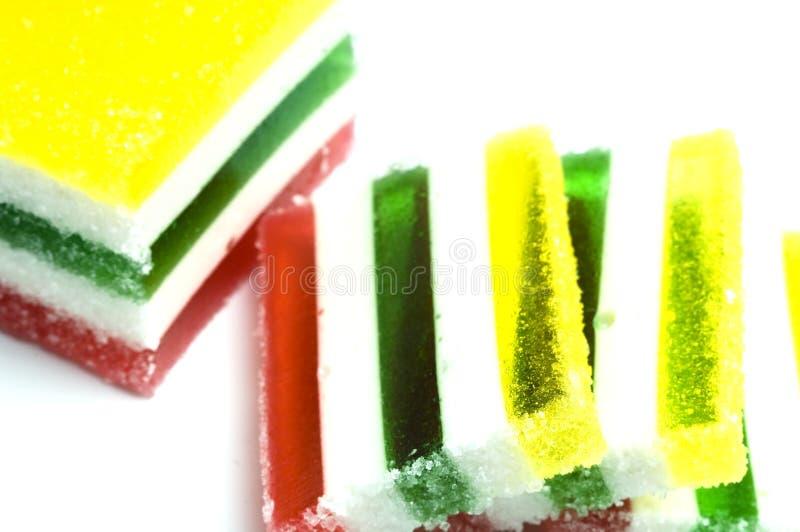 被切的五颜六色的jello 免版税库存照片