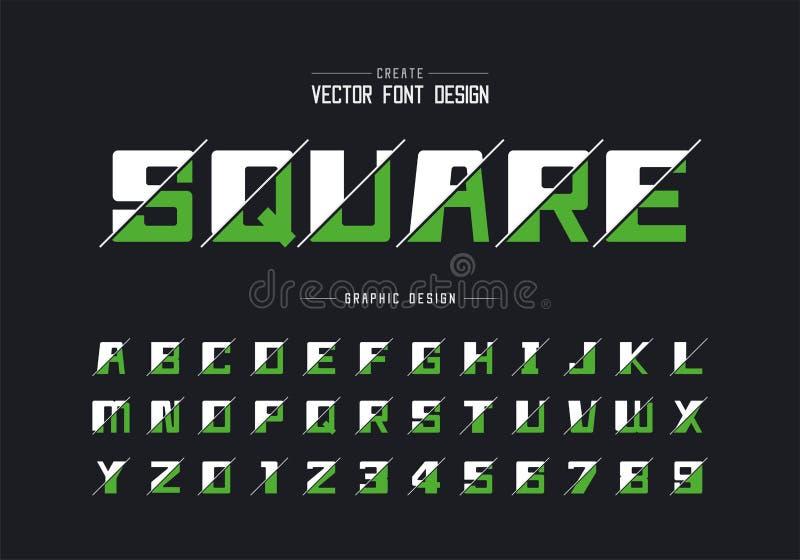 被切的大胆的字体和字母表传染媒介、方形的字体信件和数字设计,在背景的图表文本 库存例证