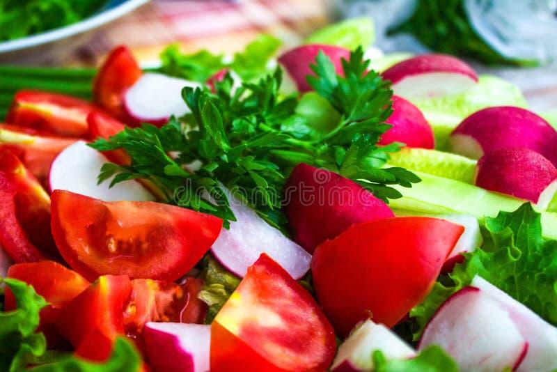 被切的新鲜蔬菜,关闭  库存照片