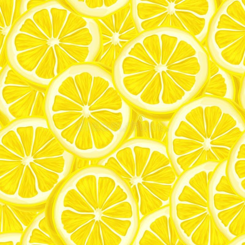 被切的柠檬无缝的背景 向量例证