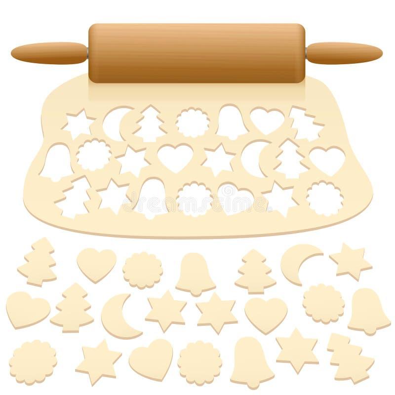 被删去的圣诞节曲奇饼未加工的面团 库存例证