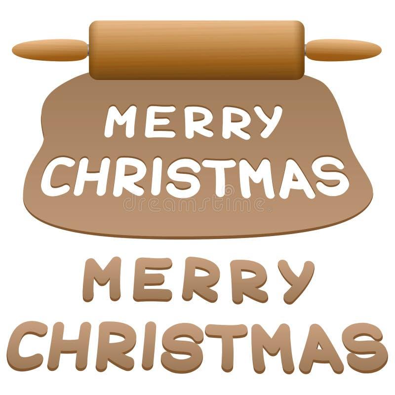 被删去的曲奇饼圣诞快乐姜饼 向量例证