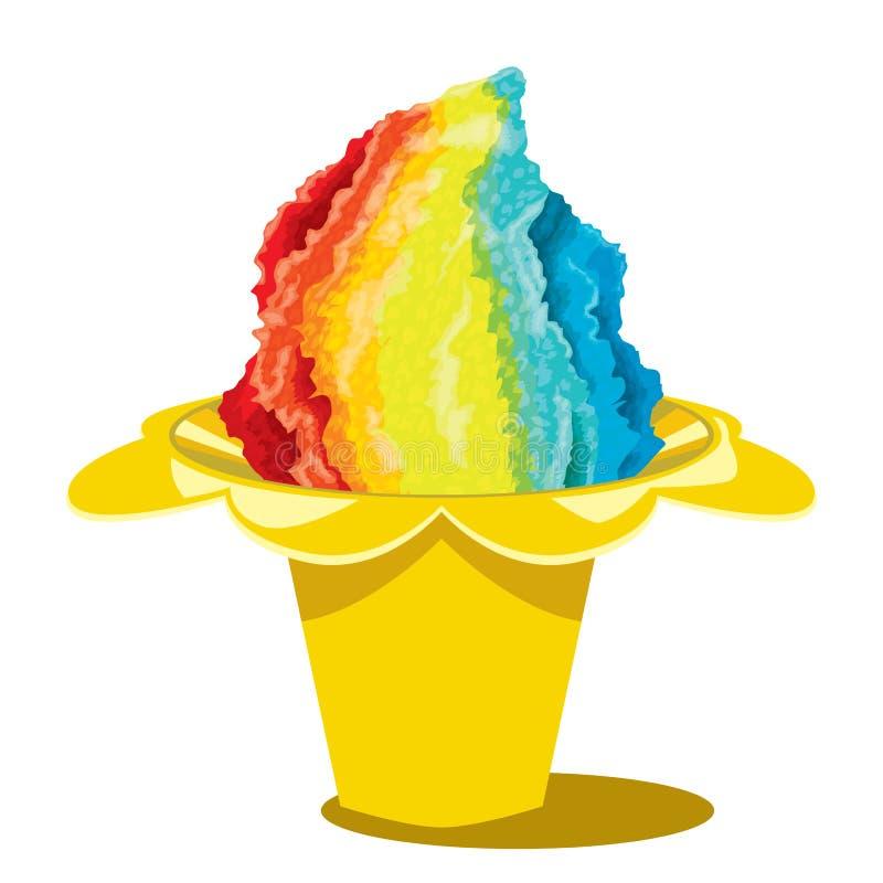 被刮的冰Snowcone夏天Desset夏威夷新鲜的糖果 皇族释放例证