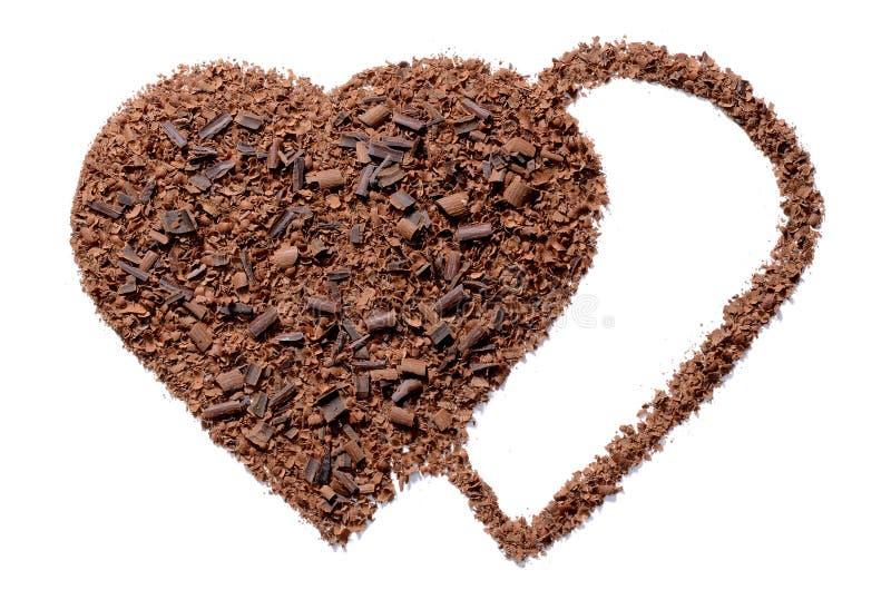 被刮的巧克力心脏形式 库存图片