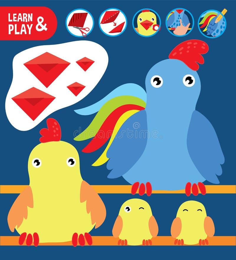被削减的胶浆上色鸟儿童可印的比赛 库存例证
