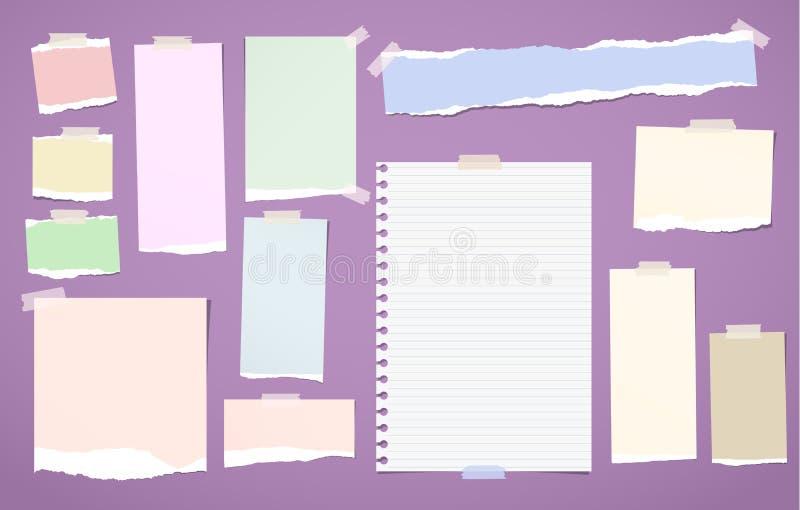 被剥去的空白排行了,五颜六色的笔记、笔记本纸带、板料困住与文本的稠粘的磁带或消息在紫罗兰 向量例证