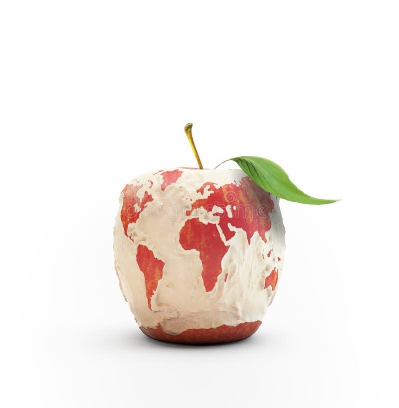 被剥皮的苹果世界地图 库存图片