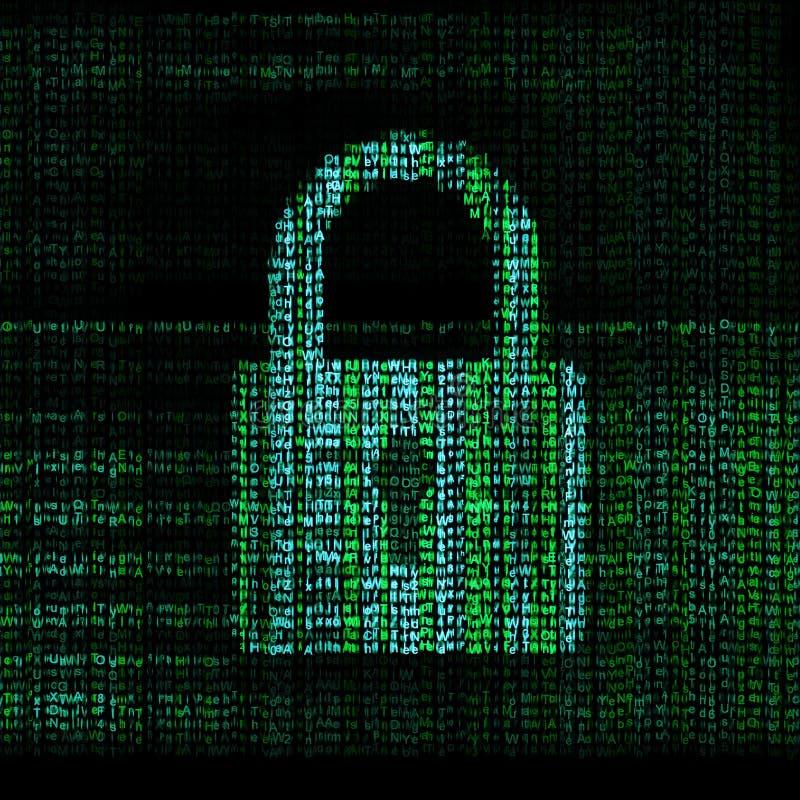 被加密的数字式锁定 库存例证